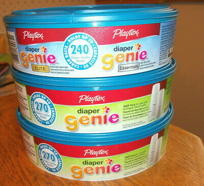 3 Playtex Diaper Genie Refills 2 Regular and 1 Elite Essentials