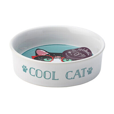 English Tableware Co. Perfect Pets Small Bowl, Cool Cat Cute Animal Feeding Dish