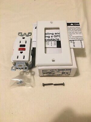 Leviton GFCI GROUND FAULT CIRCUIT INTERRUPTER With Wall Plate WHITE 06599-00W
