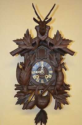 Antique German Black Forest Mini Hunter Style Spring Driven Cuckoo Clock 1900'S