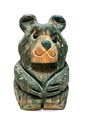 Vintage Wood Carved Bear By Plain Folk Carving Haxtun Colorado Folk Art