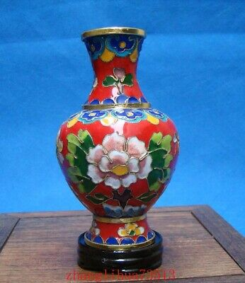 130mm Chinese Collectible Handmade Brass Cloisonne Enamel Vase Deco Art