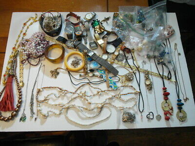 Lot Of Vintage Antique Costume Jewelry Beads Gold Silver Watch Watches Bracelet