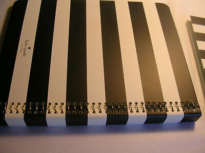 Kate Spade New York Concealed Spiral Notebook 8 1/2 X 6 3/4 Black & White Nwt