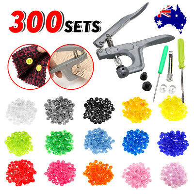 300 Sets KAM Snap Buttons T5 Plastic Press Studs Pliers Cloth Fasteners Poppers