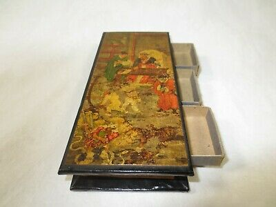 Chinese or Japanese Wooden Trinket Box w images w matchbox style drawers