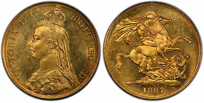 GREAT BRITAIN. Victoria 1887 AV Two Pounds. PCGS MS64 S-3865, Fr-391