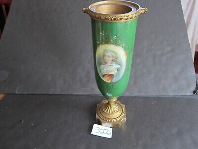 "Antique Porcelain Urn Hand Painted portrait of a young  Lady 12 "" brass footing"