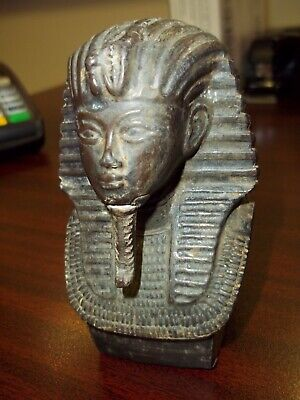 Old Antique King Tut Bust Metal Bronze Pot Egypt King Head Pharaoh Vintage Cool