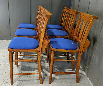 Set of 6 Egham 1960's Vintage Bargain Blue Upholstered Church Chapel Chairs