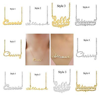 personalized Silver Plated or Gold Plated Heart Script Any NAME necklace chain