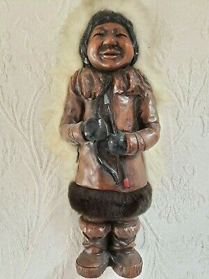 "Vintage 11 ""  Eskimo Inuit Doll, Man With Bow and Arrow, Carved Wood"