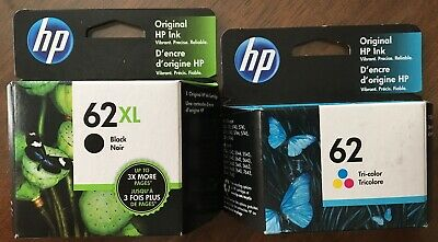 Genuine 1 HP 62 Xl Black Ink & 1 HP 62 Color Cartridge OfficeJet 5740 5741 5746