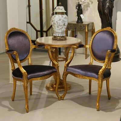 Pair of Mahogany Louis Carved Cameo Back Chairs gold leaf Purple velvet
