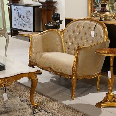 Beautiful 2 seater Love seat and 2 chairs with stunning antique gold leaf