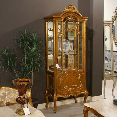 Gorgeous antique Gold leaf China display cabinet hand carved mahogany
