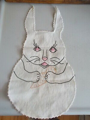 Vtg. Hand Embroidered Baby Bib Rabbit Bunny Shape Holding Carrot Darling Face..