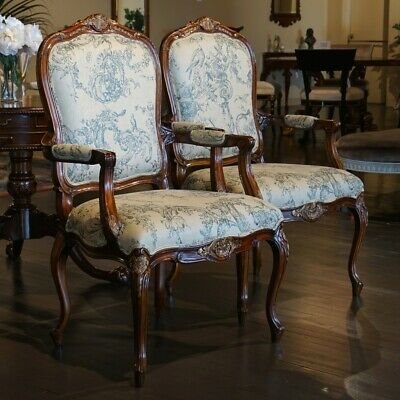 Pair of Mahogany Louis Carved Arm Chairs gold leaf accents