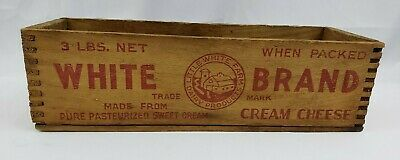 White Farms Brand Cream Cheese Advertising Wood Box Crate 3 Lbs Massachusetts