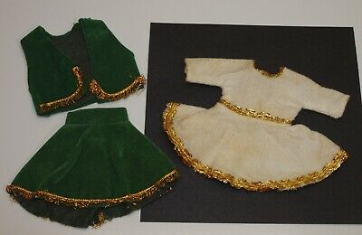 "Vintage Lot GREEN COWGIRL Skirt Vest & WHITE DRESS For 8"" Wendy Ginny Muffie"