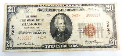 1929 $20 National Bank Shamokin PA 5625 National Currency Paper Money Note