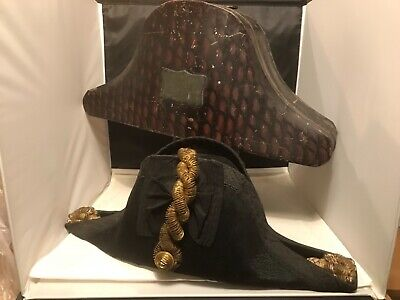 Royal British Naval Bicorn Hat With Original Tin Hat Box  By Gillott & Hasell