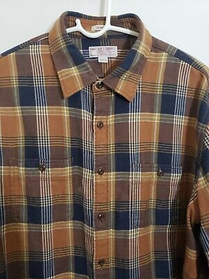 Wallace & Barnes Brown Cotton Plaid Flannel Classic Fit Mens Size L (J Crew)