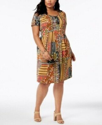 NY Collection Women's Plus Size Printed Fit & Flare Dress, Brown Patchgarden, 3X