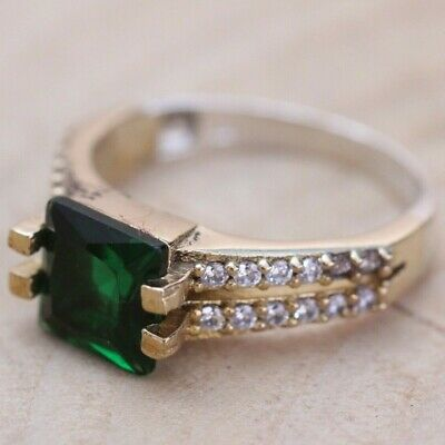 925 Sterling Silver Handmade Authentic Turkish Emerald Ladies Ring Size 10