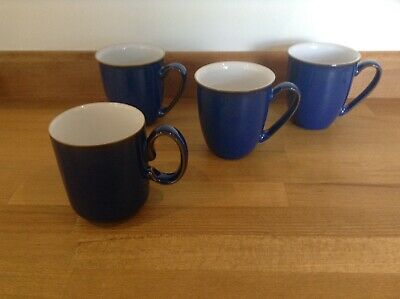 Denby Imperial Blue Mugs X 4 Good Condition