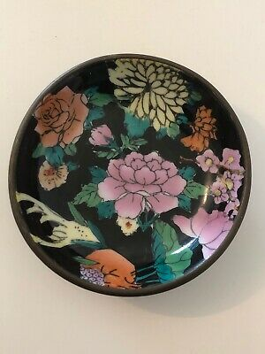 Vintage Small Chinese Handpainted Decorative China Bowl/Dish Brass Encased.