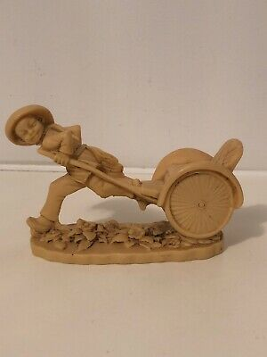 """Vintage Chinese Boy Pulling Rickshaw Cart Figure - Made of Resin - approx 6""""Long"""
