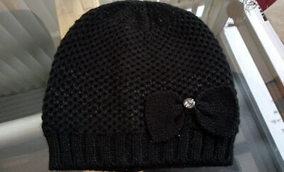 Hat 3 - 6 Years Beanie Bow Girls Black Knitted Sparkly Crystal New