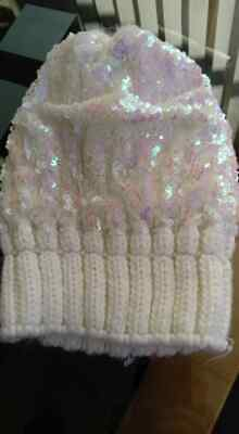 Hat 3 - 6 Years Beanie Girls White Knitted Sparkly Sequins New