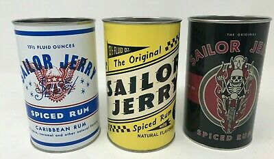 (3) Sailor Jerry Spiced Rum Eagle/Racing/Motorcycle Metal Tin Oil Can Drink NEW!