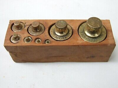 Antique Set 8 Solid Brass Metric Scale Weights 5g -1Kg Wooden Block Stamped WA