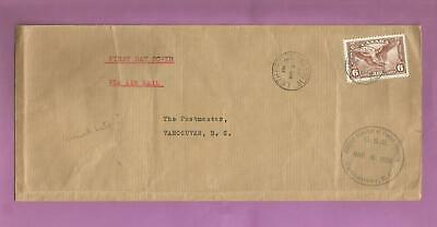 Canada Mar 2, 1938 airmail cover lethbridge to Vancouver - m8