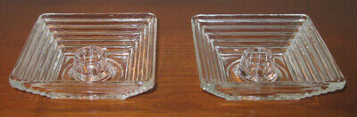 Pair Candle Holders Anchor Hocking Manhattan Glass Clear Crystal Ribbed Art Deco