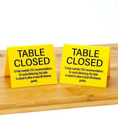 """Table Closed """"Social Distancing"""" Plastic Table Tents, 15pk, Free Shipping"""