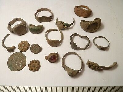 6623 Lot of 17 ancient Roman, Byzantine, Medieval and Late Medieval rings, crac