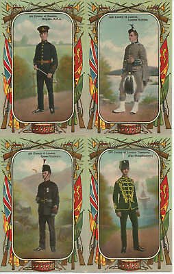 4x Coloured Blank VINTAGE POSTCARDS - ARMY BAND UNIFORMS