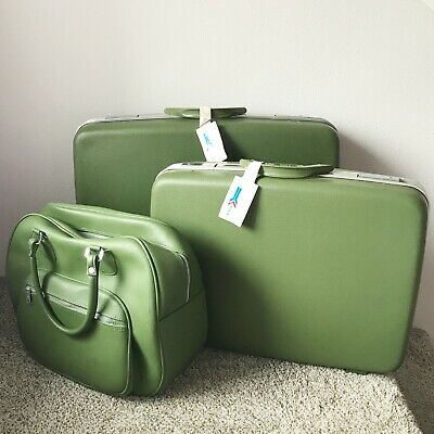 Vintage DOYLE Green Luggage Set Hard Suitcase Bags 3 Piece Airline Train Travel
