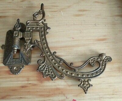 Antique Victorian Ornate Cast Iron Swing Arm Wall Mount Lamp Holder!