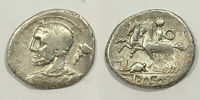 112 BC Roman Republic Silver Denarius, T. Quinctius, A Beautiful RAT !