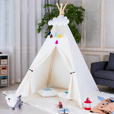 Kids Teepee Tent Wigwam Indoor Outdoor Decoration Children Play House White Lace
