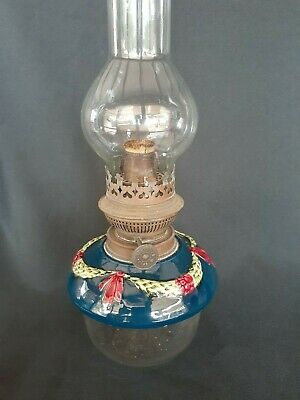 Vintage Oil Lamp Glass And Ceramic