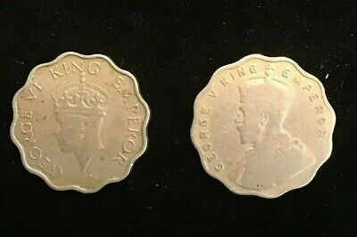 India 1 Anna 1914 and 1941 x 2 pieces