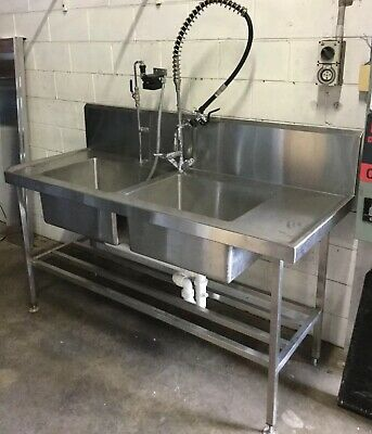 Commercial Kitchen Cafe Heavy Duty Twin Bowl Sink & Pot Rail & Rinse Spray Tap