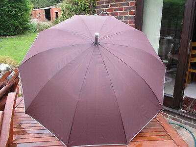 Brown with white trim automatic opening umbrella