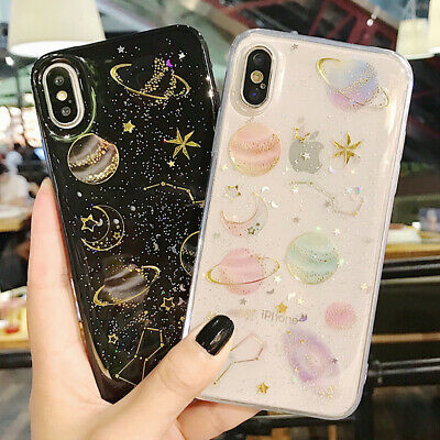 Phone Case For iPhone 6 6S 7 8 Plus Shockproof Cute Planet Moon Star Case Cover
